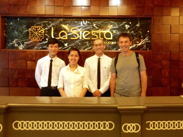 Long and staff with Rich at La Sieta Hotel in Hanoi